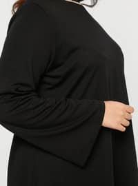 Black - Crew neck - Unlined - Plus Size Evening Suit