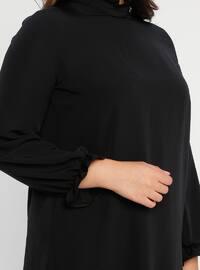 Black - Polo neck - Unlined - Plus Size Evening Suit