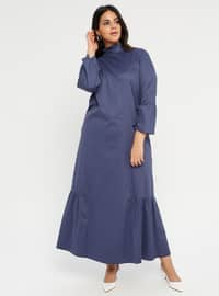 Navy Blue - Unlined - Polo neck - Muslim Plus Size Evening Dress