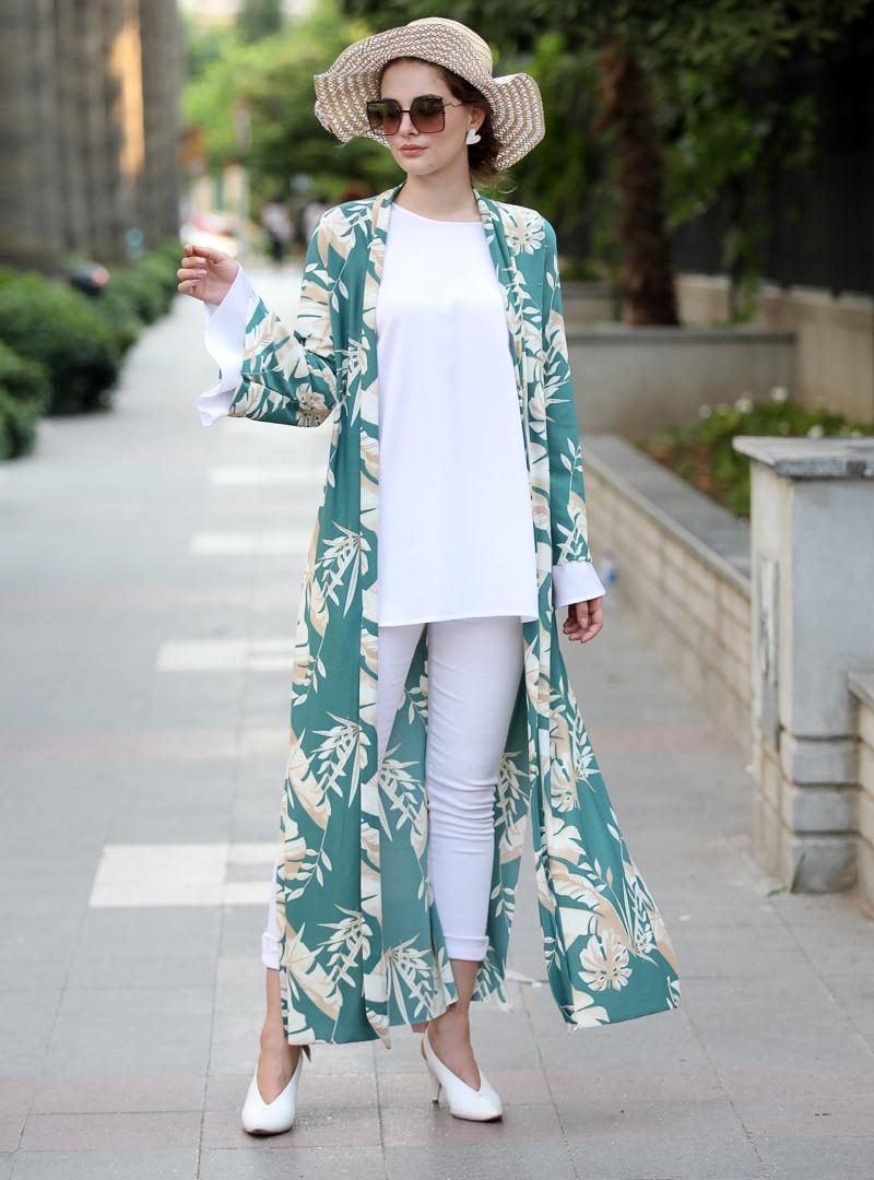 Tesettür Ceket Selma Sarı Design Mint Yeşili Taş Kadın 38