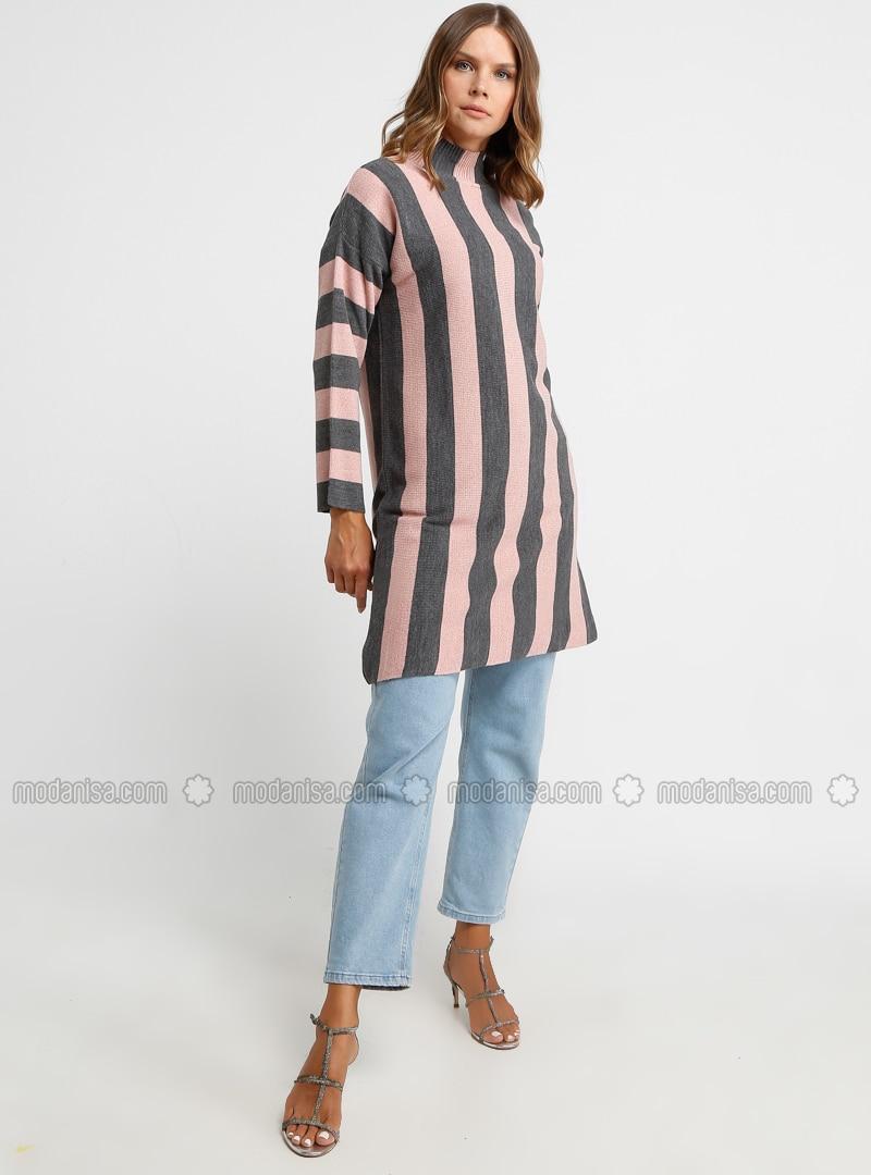Dusty Rose - Stripe - Polo neck - Acrylic -  - Tunic