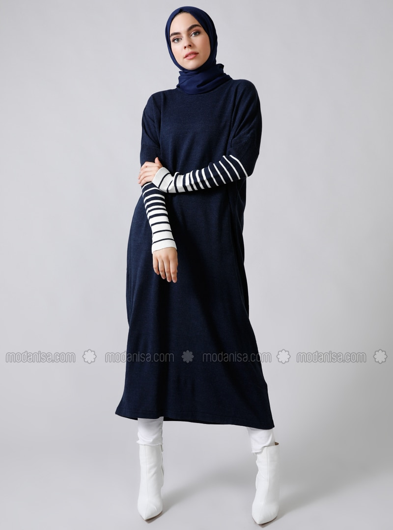 Ecru - Navy Blue - Stripe - Crew neck - Acrylic -  - Jumper
