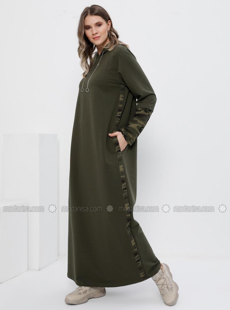 Khaki - Multi - Unlined - - Plus Size Dress