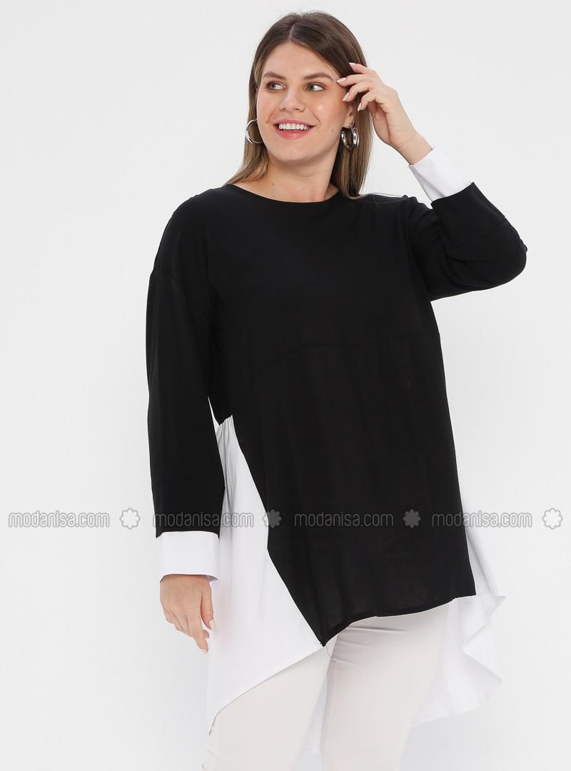 Black - Crew neck - Viscose - Plus Size Tunic