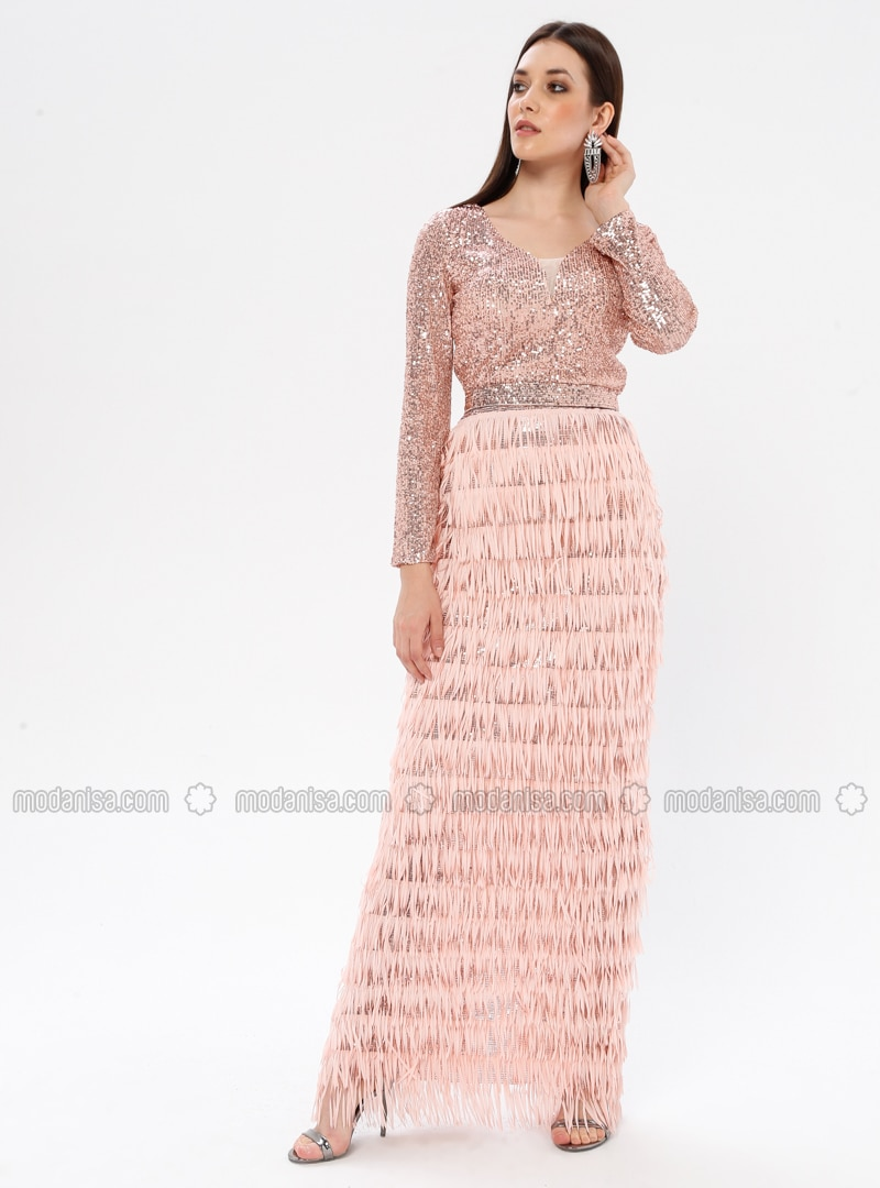 Powder - Fully Lined - V neck Collar - Muslim Evening Dress