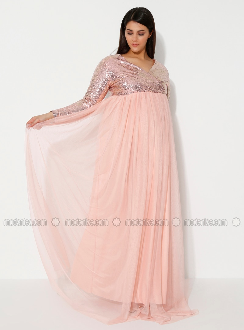 Powder - Powder - Fully Lined - V neck Collar - Maternity Evening Dress