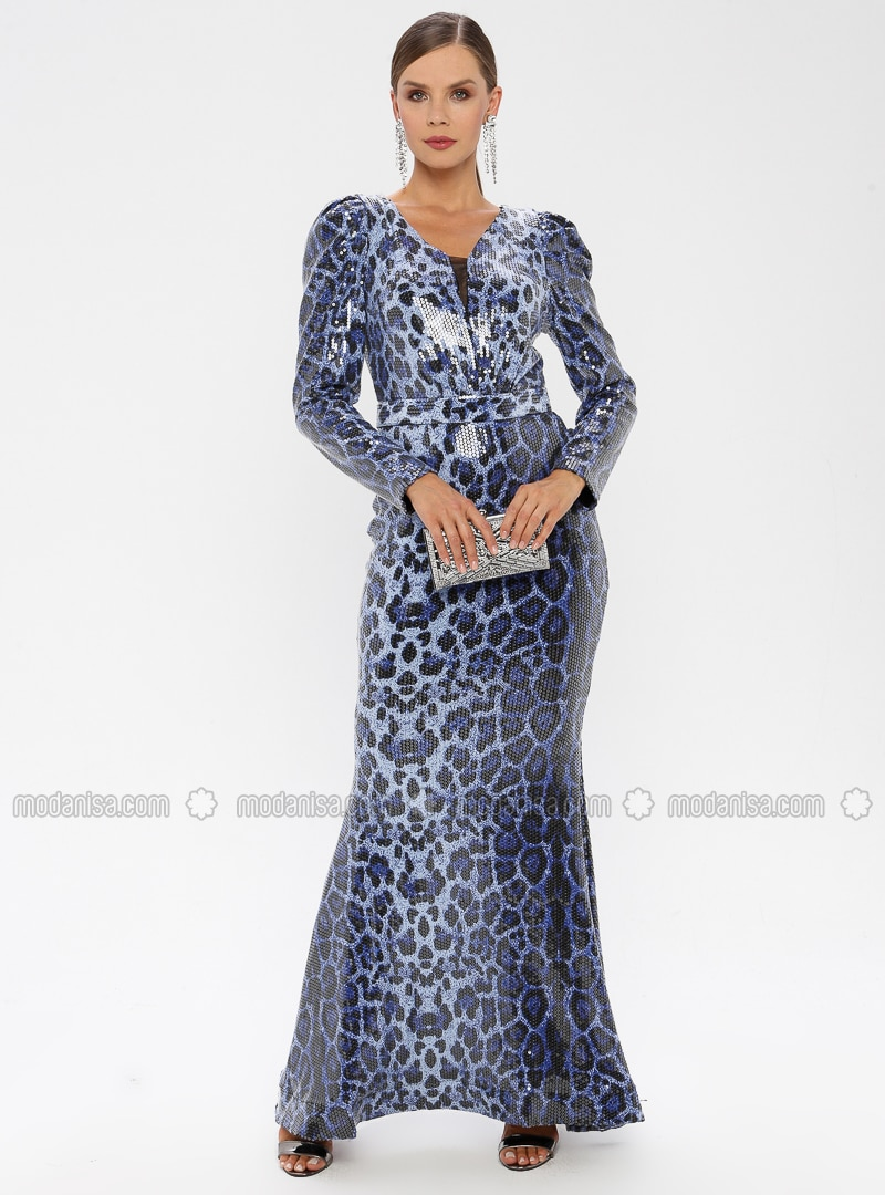 Blue - Fully Lined - V neck Collar - Muslim Evening Dress