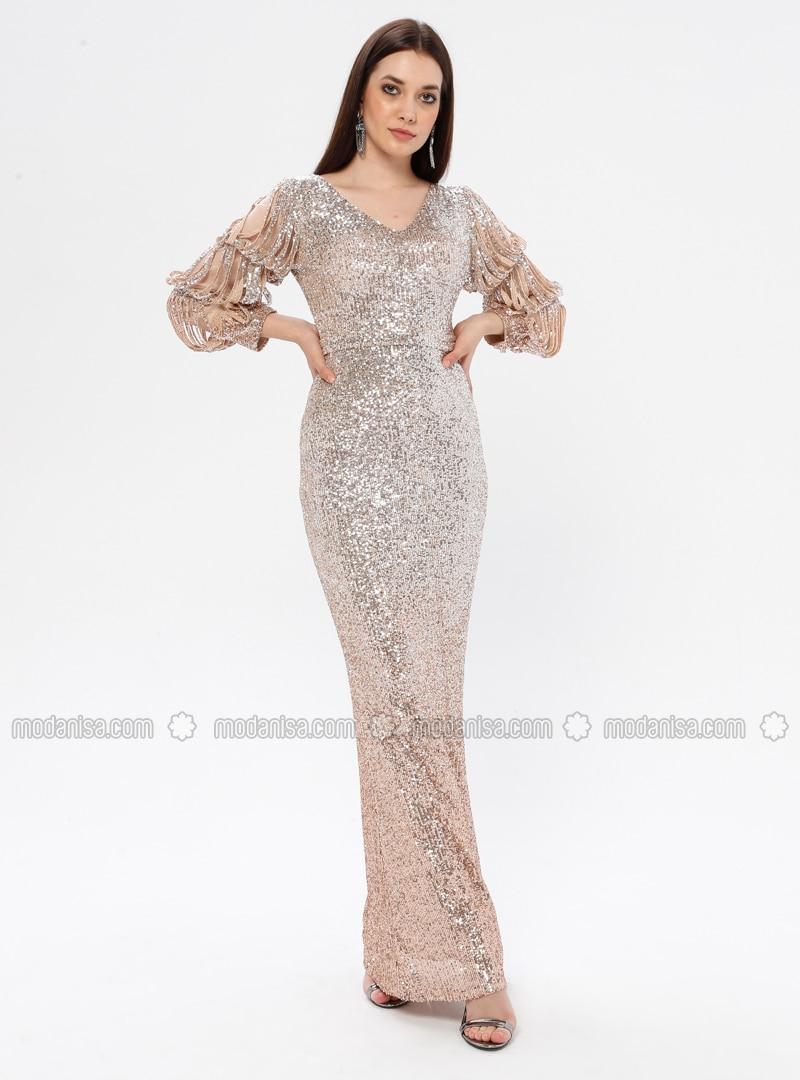 Mink - Fully Lined - V neck Collar - Muslim Evening Dress