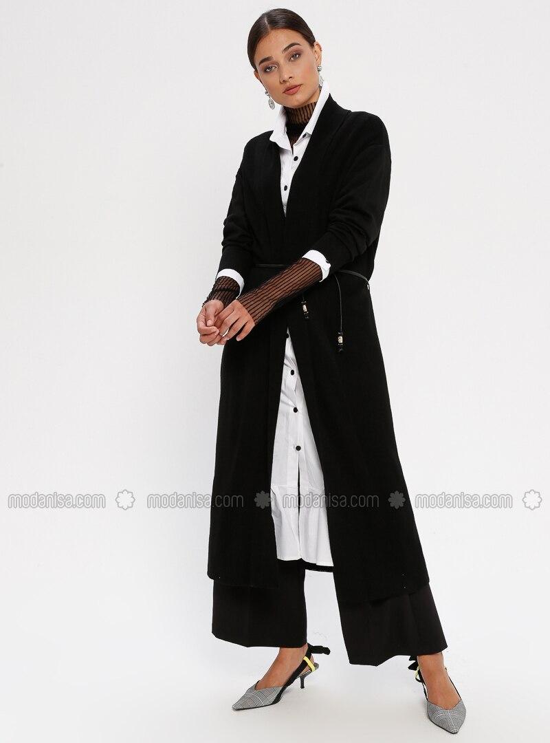 Black - Shawl Collar - Acrylic -  - Cardigan