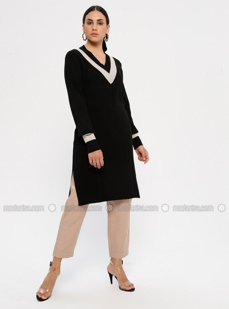 Black - V neck Collar - Acrylic -  - Tunic