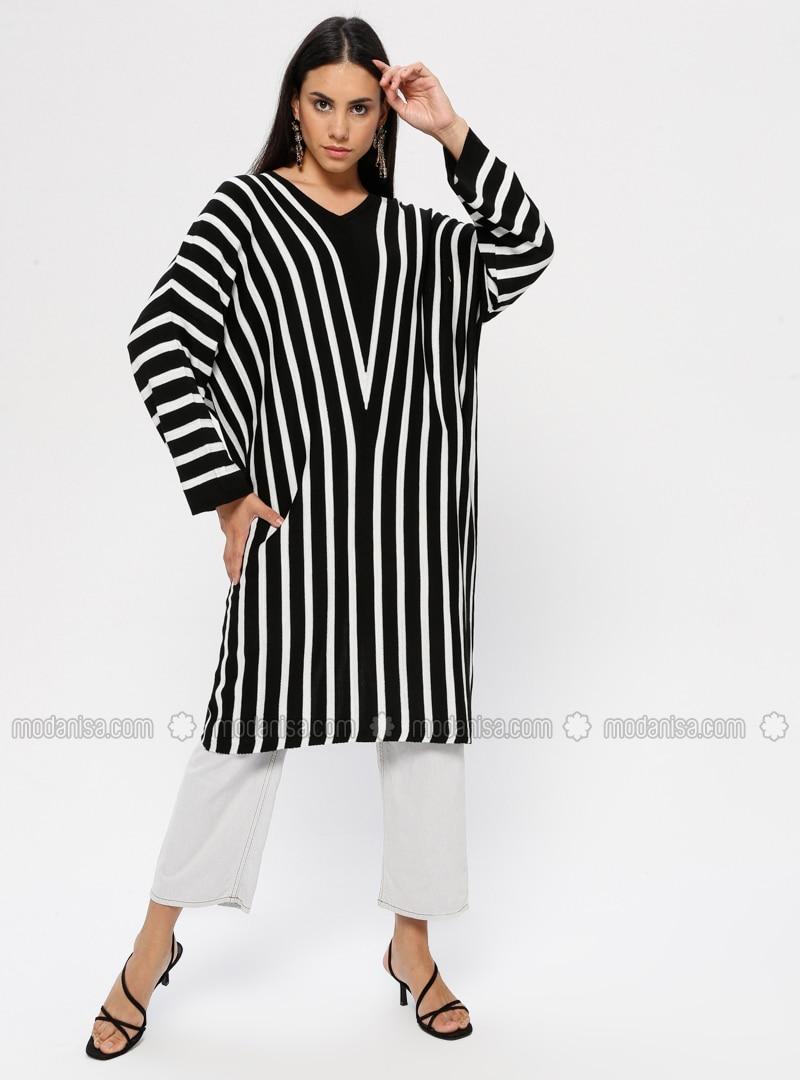 Black - Stripe - V neck Collar - Acrylic -  - Tunic