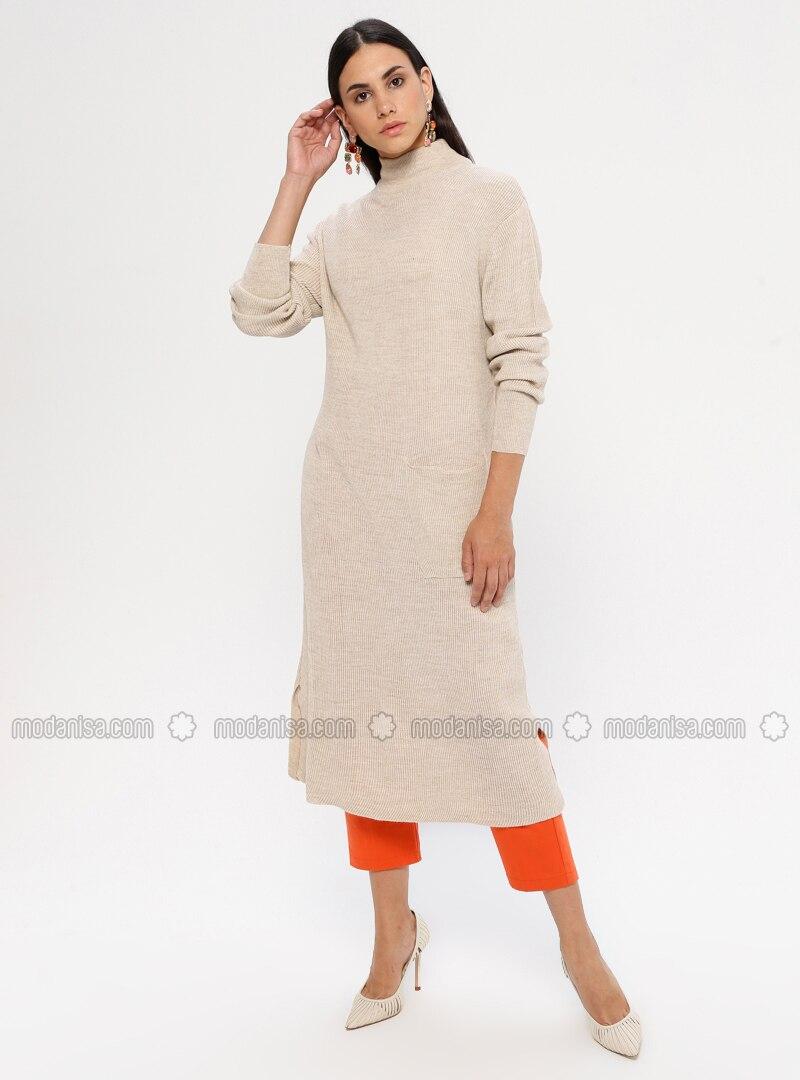beige - rollkragen - ohne innenfutter - acryl - - hijab kleid