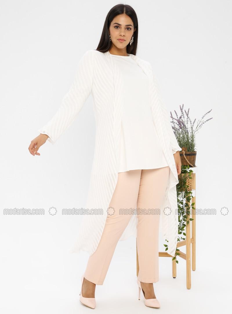 White - Ecru - Crew neck - Unlined - Plus Size Evening Suit