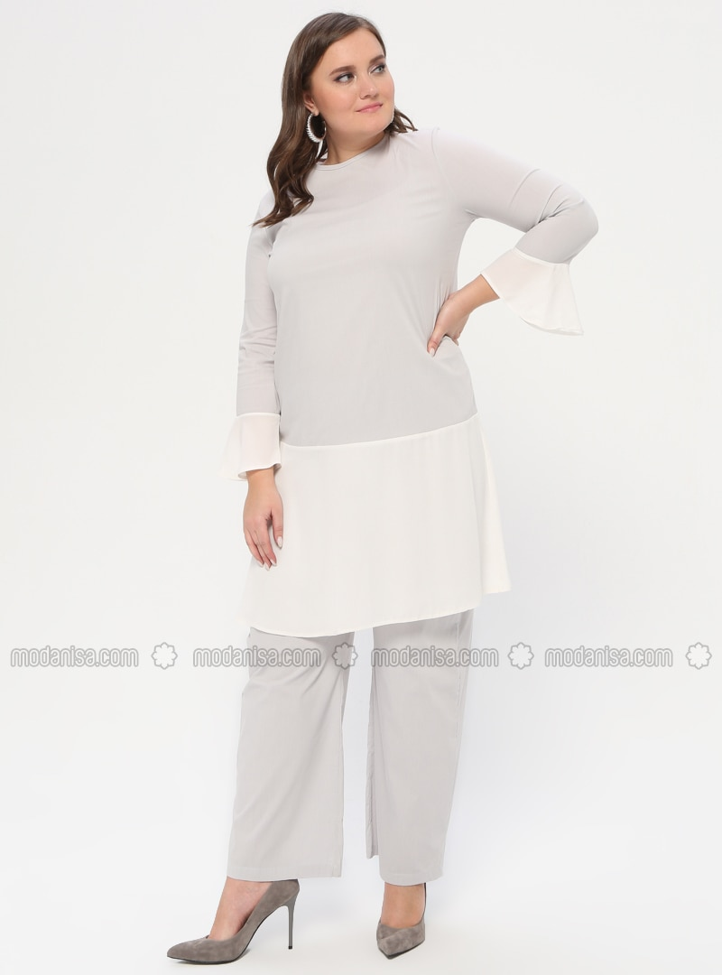 Gray - Crew neck - Unlined - Plus Size Evening Suit
