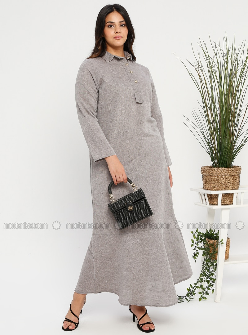 Gray - Brown - Stone - Unlined - Point Collar - Muslim Plus Size Evening Dress