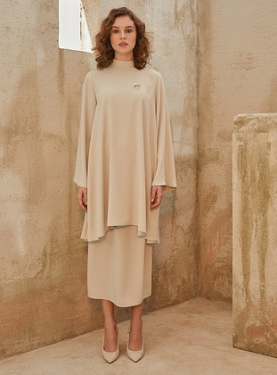 Beige - Crepe - Skirt