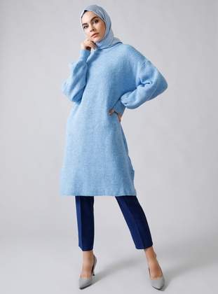 Baby Blue - Blue - Polo neck - Acrylic -  - Jumper