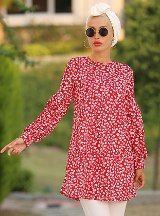 White - Red - Floral - Crew neck - Tunic