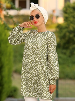 White - Green - Floral - Crew neck - Tunic