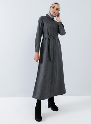 Anthracite - Point Collar - Unlined - Cotton - Dress