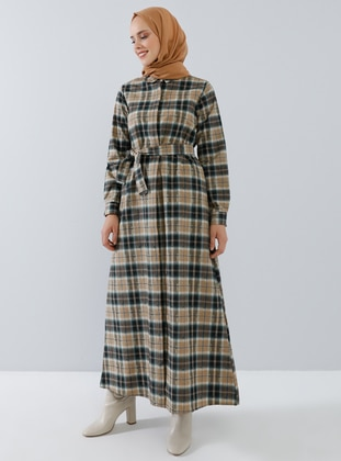 Camel - Plaid - Point Collar - Unlined -  - Dress
