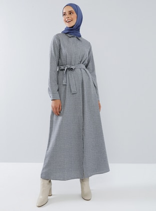 Indigo - Blue - Checkered - Point Collar - Unlined -  - Dress