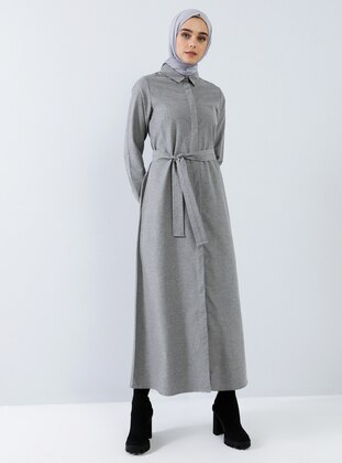 Gray - Point Collar - Unlined - Cotton - Dress
