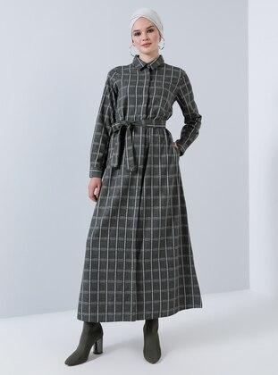 Khaki - Plaid - Point Collar - Unlined - Cotton - Dress