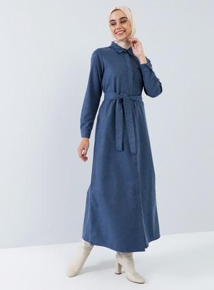 Indigo - Navy Blue - Point Collar - Unlined - Cotton - Dress