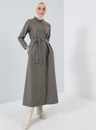 Brown - Point Collar - Unlined -  - Dress