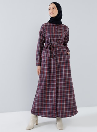Maroon - Red - Plaid - Point Collar - Unlined -  - Dress