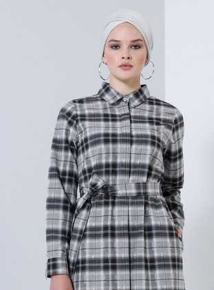 Gray - Plaid - Point Collar - Unlined - Cotton - Dress