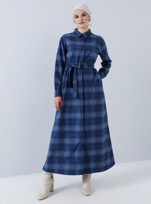 Navy Blue - Plaid - Point Collar - Unlined - Cotton - Dress