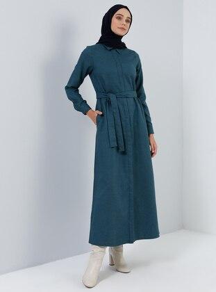 Green - Emerald - Checkered - Point Collar - Unlined -  - Dress