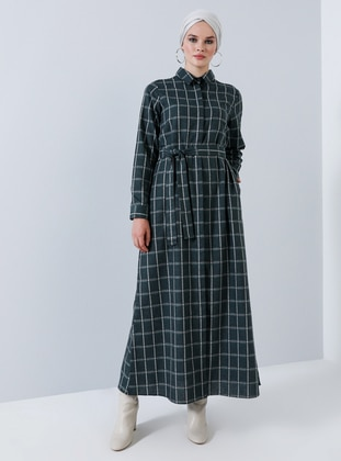 Green - Plaid - Point Collar - Unlined - Cotton - Dress