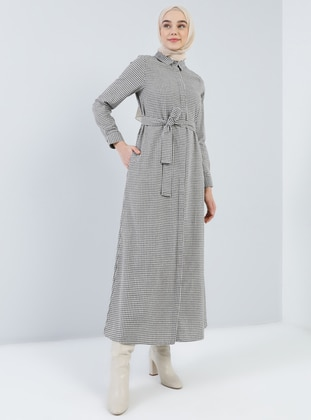 Brown - Checkered - Point Collar - Unlined -  - Dress