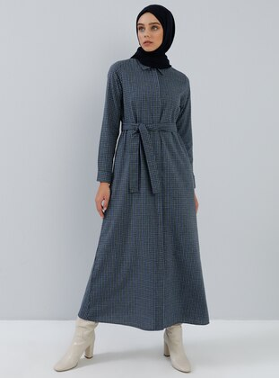 Navy Blue - Green - Checkered - Point Collar - Unlined -  - Dress