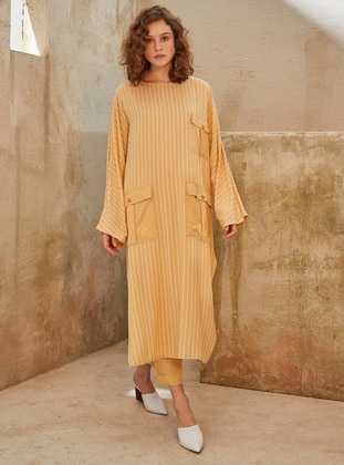 Yellow - Stripe - Crew neck -  - Tunic