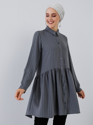 Anthracite - Stripe - Point Collar - Tunic