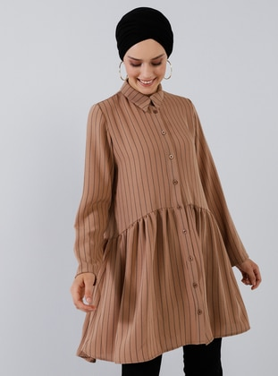 Camel - Stripe - Point Collar - Tunic
