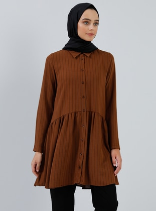 Brown - Stripe - Point Collar - Tunic