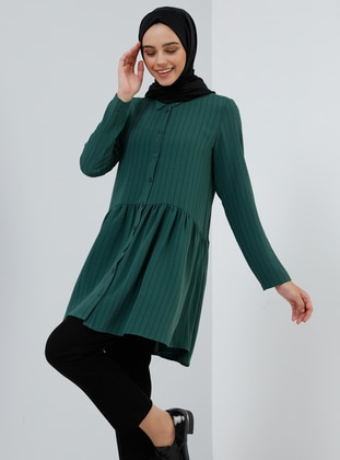 Green - Stripe - Point Collar - Tunic