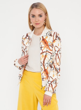 Tan - Multi - Unlined - Crew neck - Jacket