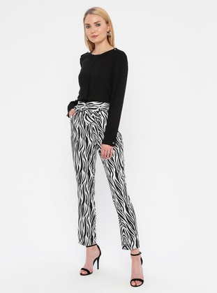 Black - Zebra - Pants