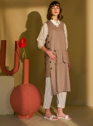 Mink - V neck Collar - Linen - Tunic