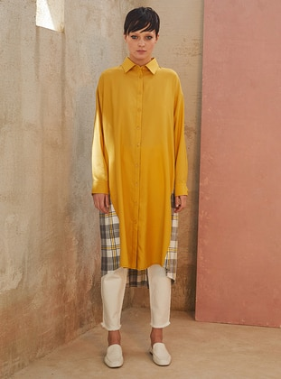 Yellow - Plaid - Point Collar -  - Tunic