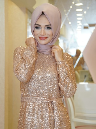 Copper - Fully Lined - Crew neck - Muslim Evening Dress