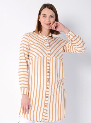 Mustard - Stripe - Point Collar - Blouses