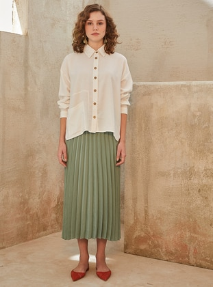 Ecru - Point Collar - Linen - Tunic