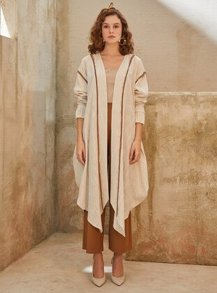 Beige - Shawl Collar - Linen - Topcoat